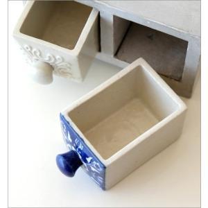 小物入れ 引き出し ミニチェスト 卓上 木製 陶器 アンティーク おしゃれ アクセサリーケース 陶器の引き出しミニチェスト2個 ブルー&ホワイト2タイプ gigiliving 03