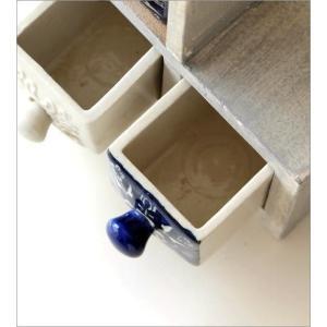 小物入れ 引き出し ミニチェスト 卓上 木製 陶器 アンティーク おしゃれ アクセサリーケース 陶器の引き出しミニチェストステア3個 ブルー&ホワイト2タイプ|gigiliving|03