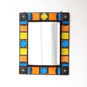 鏡 壁掛けミラー 手作り アイアン ガラス おしゃれ レトロ アンティーク ウォールミラー エキゾチックなガラスモザイクミラー|gigiliving