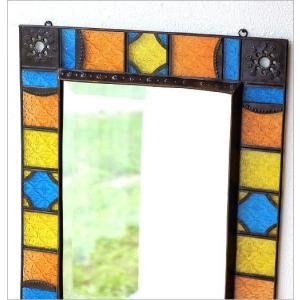 鏡 壁掛けミラー 手作り アイアン ガラス おしゃれ レトロ アンティーク ウォールミラー エキゾチックなガラスモザイクミラー gigiliving 03