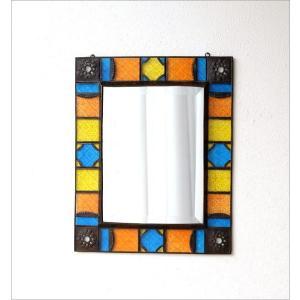 鏡 壁掛けミラー 手作り アイアン ガラス おしゃれ レトロ アンティーク ウォールミラー エキゾチックなガラスモザイクミラー gigiliving 05