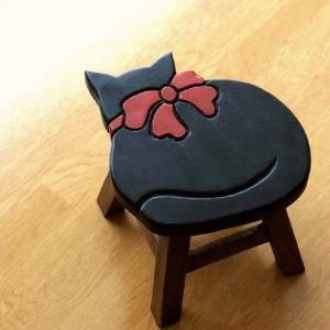 スツール 木製 椅子 いす イス ミニスツール 玄関 花台 ミニテーブル ウッドチェア おしゃれ 雑貨 猫 ネコ ねこ ローチェア 低い 腰掛け 子供椅子 黒ネコさん|gigiliving