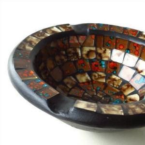 灰皿 おしゃれ ガラス 卓上 小物入れ アクセサリー入れ モザイク灰皿|gigiliving