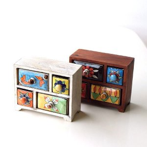 小物入れ 引き出し ミニチェスト 卓上 木製 陶器 アンティーク おしゃれ アクセサリーケース 整理 小物ケース 小物収納 陶器の2段引き出しミニチェスト2カラー|gigiliving
