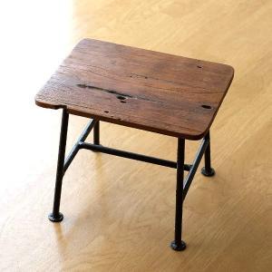 スツール 木製 アイアン コンパクト 玄関 椅子 花台 天然木 木目 リサイクルウッドとアイアンのスツール|gigiliving