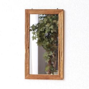 鏡 壁掛けミラー ウォールミラー 木製 角型 おしゃれ 古木のシンプルミラー|gigiliving