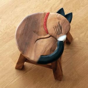 スツール 木製 椅子 いす イス ミニスツール 玄関 花台 ミニテーブル ウッドチェア おしゃれ 子供椅子 まる丸ネコさん|gigiliving