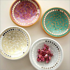 トレー トレイ お皿 モザイクガラスのプレート クレール4カラー|gigiliving