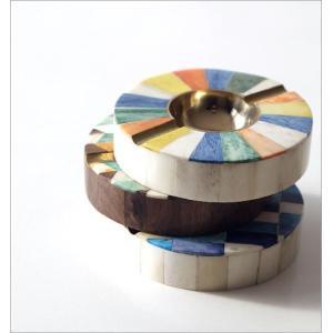 灰皿 おしゃれ 卓上 カラフル デザイン レトロ アンティーク 真鍮 シーシャムウッド ボーンのサークルアッシュトレイ 3タイプ|gigiliving|03