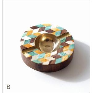 灰皿 おしゃれ 卓上 カラフル デザイン レトロ アンティーク 真鍮 シーシャムウッド ボーンのサークルアッシュトレイ 3タイプ|gigiliving|05