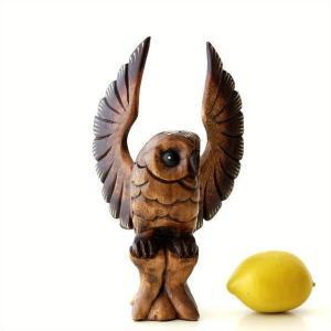 ふくろう 置物 木彫り 木製 ウッド オブジェ インテリア 木彫フクロウB|gigiliving