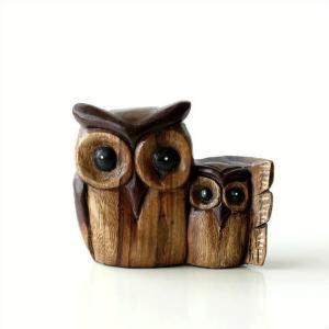 フクロウ 置物 木彫り 木製 オブジェ ほのぼの親子ふくろう|gigiliving