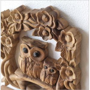 WELCOME ウェルカム 看板 玄関 ふくろう オブジェ エントランス 天然木 木彫り 壁掛け 雑貨 木彫りフクロウの壁掛けA|gigiliving|03
