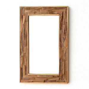 鏡 壁掛けミラー ウッド 木製 ウォールミラー 壁掛け組み木ミラー M|gigiliving