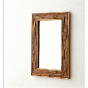 鏡 壁掛けミラー ウッド 木製 ウォールミラー 壁掛け組み木ミラー M|gigiliving|02