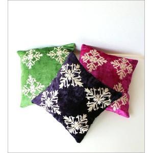 クッションカバー 45×45 おしゃれ かわいい 正方形 アジアン エレガント グリーン ネイビー ピンク ソファ 刺繍ベルベットクッションカバー 3カラー|gigiliving|02