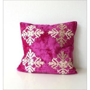 クッションカバー 45×45 おしゃれ かわいい 正方形 アジアン エレガント グリーン ネイビー ピンク ソファ 刺繍ベルベットクッションカバー 3カラー|gigiliving|03