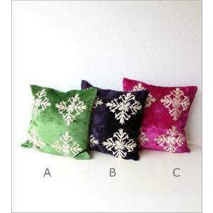 クッションカバー 45×45 おしゃれ かわいい 正方形 アジアン エレガント グリーン ネイビー ピンク ソファ 刺繍ベルベットクッションカバー 3カラー|gigiliving|06