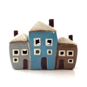 キャンドルハウス 陶器 キャンドルホルダー おうち 家 おしゃれ かわいい ハウス型 LED付きキャンドルハウスA|gigiliving