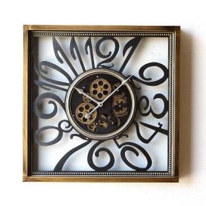 壁掛け時計 掛け時計 掛時計 壁掛時計 おしゃれ アンティーク レトロ クラシック 北欧 カフェ かっこいい 四角 スクエア ウォールクロックギアー スケルトン|gigiliving