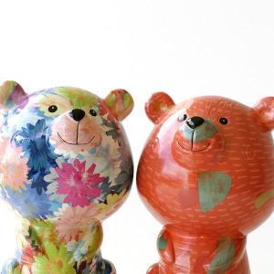 貯金箱 おしゃれ かわいい 陶器 クマ 熊 オブジェ 置物 可愛い インテリア 陶器の貯金箱 くま2...