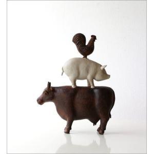 置物 インテリアオブジェ かわいい ウシ ブタ ニワトリ アニマル デザイン 仲良しファームのオブジェ|gigiliving|05