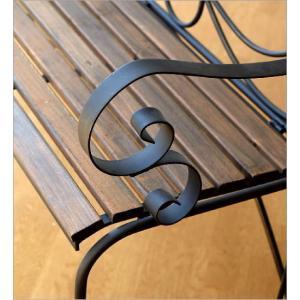 ガーデンベンチ 折りたたみ おしゃれ アイアンとウッドの2人掛けベンチ B gigiliving 03
