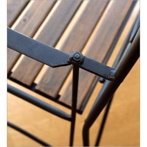 ガーデンベンチ 折りたたみ おしゃれ アイアンとウッドの2人掛けベンチ B gigiliving 05