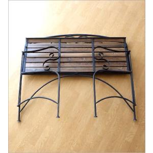 ガーデンベンチ 折りたたみ おしゃれ アイアンとウッドの2人掛けベンチ B gigiliving 06