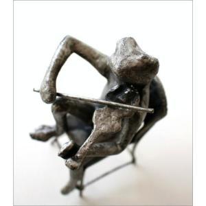 かえる カエル 置物 置き物 雑貨 インテリア アイアンのオブジェ バイオリンフロッグ|gigiliving|03