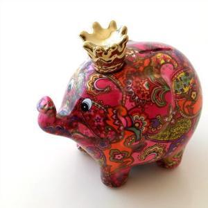 貯金箱 かわいい 陶器 ゾウ 象 オブジェ 置物 可愛い 動物 アニマル インテリア 陶器のカラフル貯金箱 ゾウ|gigiliving