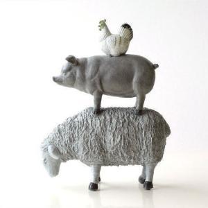 置物 オブジェ ひつじ ヒツジ 羊 ぶた ブタ 豚 にわとり ニワトリ 鶏 アニマル 動物 インテリア 雑貨 仲良しファームのオブジェ B|gigiliving