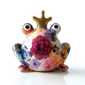 貯金箱 おしゃれ かわいい 陶器 カエル 蛙 オブジェ 置物 置き物 可愛い インテリア 陶器のカラフル貯金箱 カエル