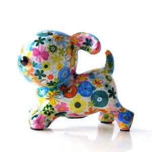 貯金箱 おしゃれ かわいい 陶器 イヌ 犬 オブジェ 置物 可愛い 動物 アニマル インテリア 陶器のカラフル貯金箱 イヌ