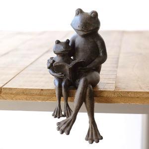 カエル かえる 置物 置き物 雑貨 オブジェ かわいい 可愛い おしゃれ アンティーク レトロ シャビー インテリア 小物 親子で読書のカエルさん|gigiliving
