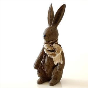 うさぎ 置物 オブジェ インテリア 雑貨 置き物 グッズ ウサギのオブジェ 木彫り風|gigiliving