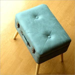 スツール 収納 ボックス トランク型 レトロ アンティーク おしゃれ かわいい デザイン BOX インテリア 椅子 四角 スクエア コンパクト トランク スツールB|gigiliving