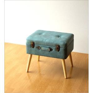 スツール 収納 ボックス トランク型 レトロ アンティーク おしゃれ かわいい デザイン BOX インテリア 椅子 四角 スクエア コンパクト トランク スツールB|gigiliving|06