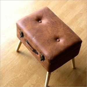 スツール 収納 ボックス トランク型 レトロ アンティーク おしゃれ かわいい デザイン BOX インテリア 椅子 四角 スクエア コンパクト トランク スツールC|gigiliving
