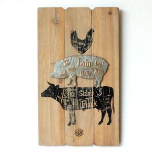 壁飾り 木製 おしゃれ ウォールパネル 壁掛け インテリア 壁面 飾り アンティーク 壁掛ミートチャートボード|gigiliving