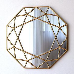 鏡 壁掛けミラー おしゃれ ゴールド 八角形 アンティーク ウォールミラー デザイン エレガント クラシック モダン 大型 アートミラー ダイアモンド|gigiliving