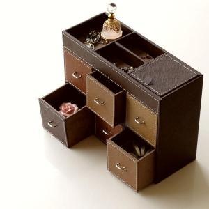 アクセサリーケース アクセサリー 収納 小物入れ 引き出し アクセサリーボックス ミニチェスト おしゃれ ブラウン トレジャーチェストBOX 6ボックス|gigiliving