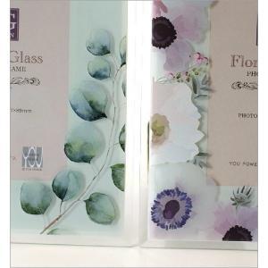 フォトフレーム 写真立て ガラス おしゃれ 花 フラワー かわいい 自然 水彩画 グリーン ナチュラル ガラスのフォトフレームフラワーB 2タイプ|gigiliving|03