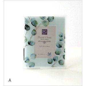 フォトフレーム 写真立て ガラス おしゃれ 花 フラワー かわいい 自然 水彩画 グリーン ナチュラル ガラスのフォトフレームフラワーB 2タイプ|gigiliving|05