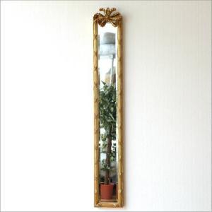 鏡 壁掛けミラー スリム 玄関 おしゃれ 姿見 ウォールミラー エレガント ロココ インテリア クラシック アンティークなロングミラー B|gigiliving