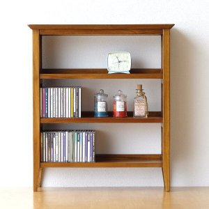 CDラック 文庫本 本棚 薄型 おしゃれ 木製 収納 飾り棚 無垢 アジアン家具 完成品 チークコンパクトCDラック|gigiliving
