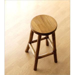 スツール 木製 椅子 おしゃれ アジアン家具 無垢 丸椅子 天然木 ハイスツール カウンターチェア チーク原木スツール M|gigiliving|02