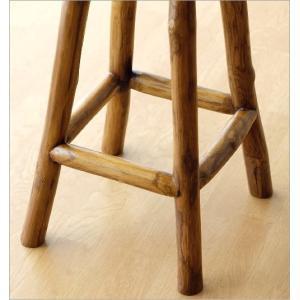 スツール 木製 椅子 おしゃれ アジアン家具 無垢 丸椅子 天然木 ハイスツール カウンターチェア チーク原木スツール M|gigiliving|04