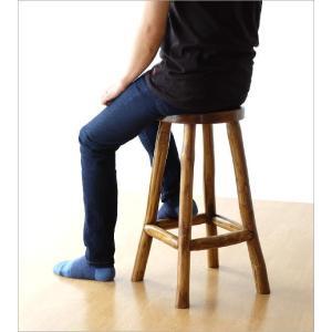 スツール 木製 椅子 おしゃれ アジアン家具 無垢 丸椅子 天然木 ハイスツール カウンターチェア チーク原木スツール M|gigiliving|05