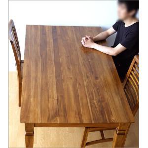 ダイニングテーブル 無垢 天然木 おしゃれ 4人 食卓 モダン アジアン家具 チークダイニングテーブル135 gigiliving 02